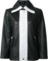Carven contrast leather jacket - women - Lamb Skin/Acetate/Viscose - 36