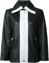 Carven contrast leather jacket - women - Lamb Skin/Acetate/Viscose - 40