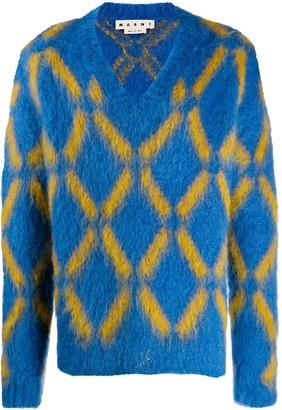 Marni patterned V-neck jumper