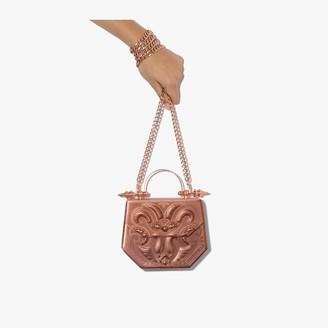 Okhtein Rose gold hexagon metallic bag