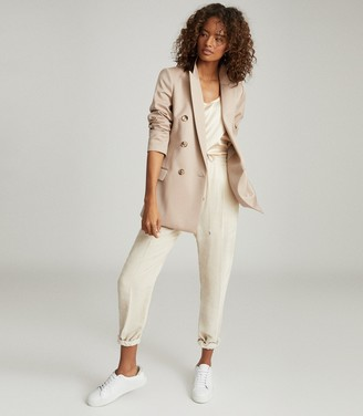 Reiss AUSTEN WOOL BLEND DOUBLE BREASTED BLAZER Camel