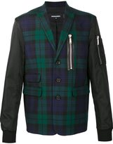 DSQUARED2 mixed material tartan bomber