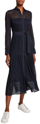 Akris Punto Mesh Pleated Midi Belted Shirtdress