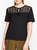 Whistles Lace Panel Tie Up Top