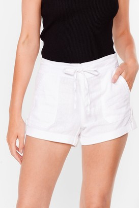Nasty Gal Womens Truly Elastic for You Mid-Rise Shorts - White