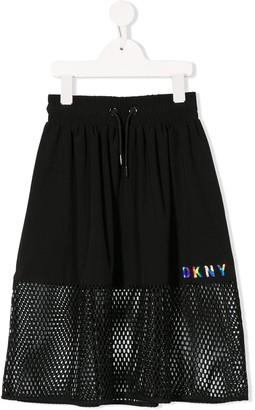 DKNY Mesh Panel Midi Skirt