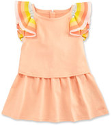 Chloé Rainbow-Ruffle Jersey Popover Dress, Multicolor, Size 12-18 Months