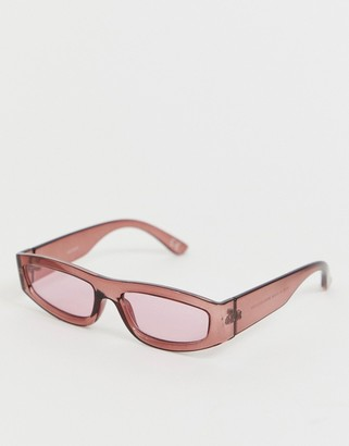 Asos Design DESIGN rectangle sunglasses with plastic burgundy frame and burgundy lenses-Red