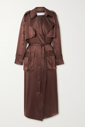 Michael Lo Sordo Silk-satin Trench Coat - Brown