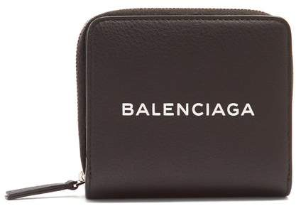 Balenciaga Shopping Zip Around Leather Wallet - Womens - Black White