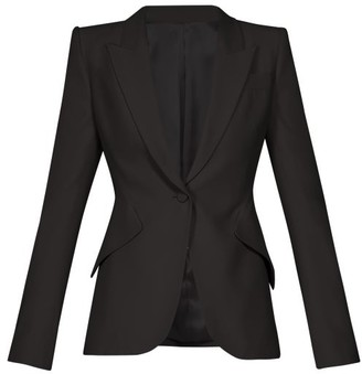 Alexander McQueen Single Breasted Crepe Blazer - Womens - Black
