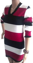 Fashion Box Women's Sexy V Neck Long Sleeves Striped Knitted Mini Dress Jumper