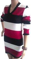 Fashion Box Women's Sexy V Neck Long Sleeves Striped Knitted Mini Dress Jumper