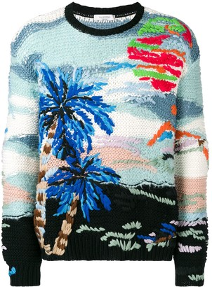 Valentino Tropical Jacquard-Knit Jumper
