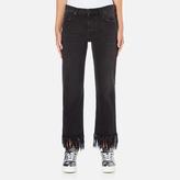 MSGM Women's Fringe Bottom Jeans Black