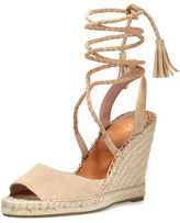Joie Phyllis Suede Lace-Up Wedge Espadrille Sandal, Buff