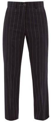 Loewe Pinstripe Wool Straight-leg Trousers - Navy White