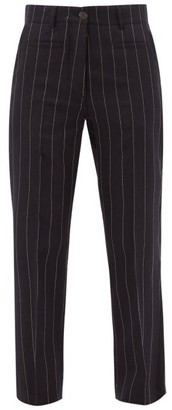 Loewe Pinstripe Wool Straight-leg Trousers - Womens - Navy White