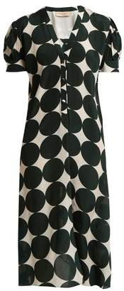 Adriana Degreas Cacao Polka Dot Print Silk Dress - Womens - Green Multi