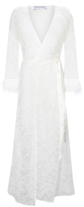 Carine Gilson Feather Trim Lace Robe