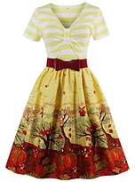 Ladyjiao Women's Vintage Dresses with Short Sleeve Floral Evening Cocktail Gown XL