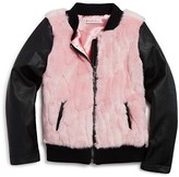 Design History Girls' Two Tone Faux Fur & Faux Leather Jacket - Sizes 2-6X