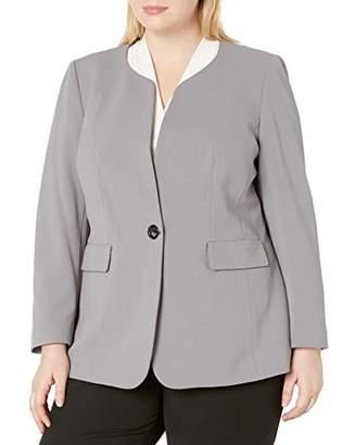 Nine West Women's 1 Button Jewel Collar KISS Front Jacket