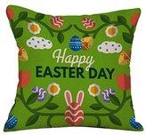 "Highpot New Sale ""Happy Easter"" Cute Eggs Prints Square Cushion Cover Hidden Zip Throw Pillow Case Sofa Car Home Decorative (C)"