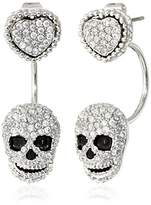 """Betsey Johnson All That Glitters"""" Skull and Heart Front and Back Earrings"""