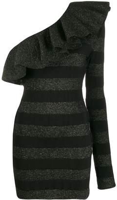 Balmain striped one-shoulder dress