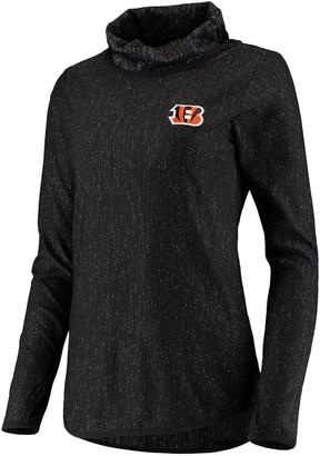 Antigua Women's Heathered Black Cincinnati Bengals Equalizer Cowl Neck Pullover Sweatshirt