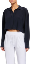 Norma Kamali Oversized Cropped Boyfriend Shirt