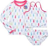 Asstd National Brand Sol Swim 3-pc. Pretty Seahorses Rash Guard Swimmer Set - Preschool Girls 4-6x