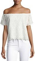 Amanda Uprichard Firenze Lace Off-the-Shoulder Top, White