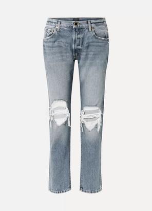 KHAITE Kyle Distressed Low-rise Straight-leg Jeans - Blue