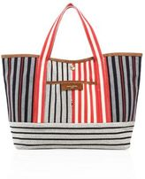 Sonia Rykiel Striped Canvas & Suede Tote