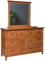 Amish Heirlooms Bungalow Solid Maple Dresser with 7 Drawer