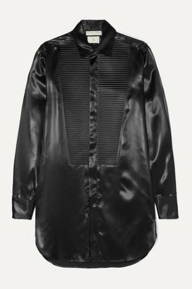 Bottega Veneta Pleated Ribbed Satin Shirt - Black