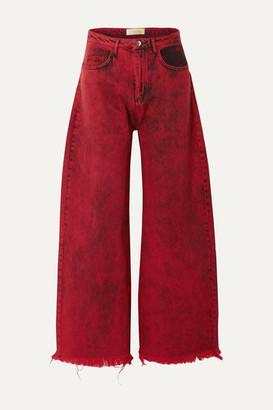 Marques Almeida Frayed Acid-wash Low-rise Boyfriend Jeans - Red