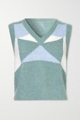 Dodo Bar Or Silviya Color-block Knitted Sweater - Blue