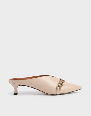 Charles & Keith Chain Strap V-Cut Mules