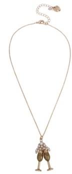 "Betsey Johnson Champagne Pendant Necklace, 16"" + 3"" extender"