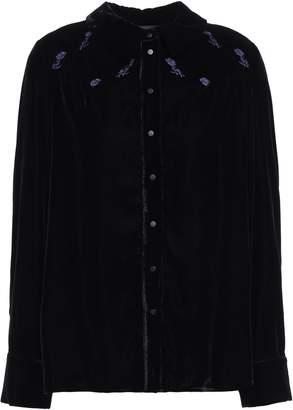 Maje Embroidered Velvet Shirt