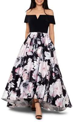 Betsy & Adam Floral-Print Off-The-Shoulder Gown