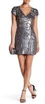 Parker V-Neck Cap Sleeve Embellished Sequin Silk Dress