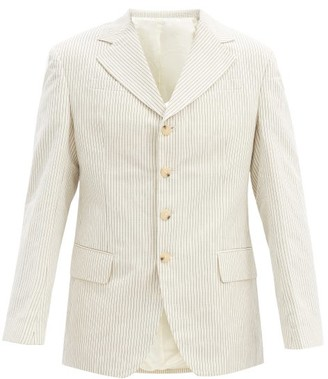 Eckhaus Latta Single-breasted Pinstriped Cotton-blend Jacket - Beige