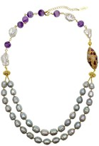 White & Grey Freshwater Pearls With Amethyst Double Strands Necklace