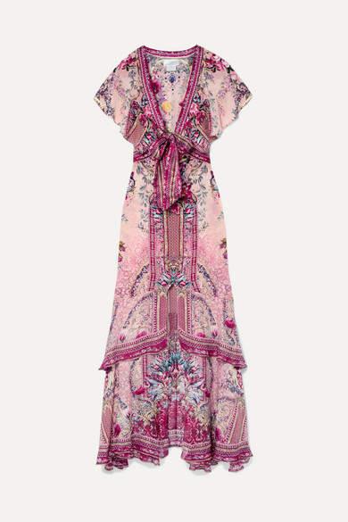 Camilla La Belle Embellished Printed Silk Crepe De Chine Maxi Dress - Claret