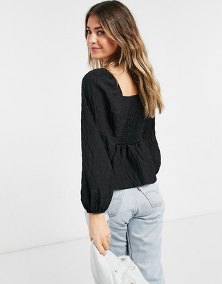 New Look square neck peplum blouse in black