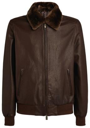 Canali Fur-Trimmed Lambskin Jacket